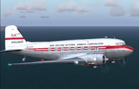 Side view of New Zealand National Airways DC-3 in flight.