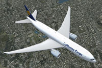 Screenshot of Lufthansa Cargo Boeing 777 in flight.