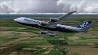 Screenshot of Nippon Cargo Airlines Boeing 747-8F in flight.