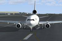 Screenshot of Nordic Global Airlines MD11F on runway.