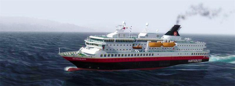 Nordkapp and below Trollfjord – sailing on Hurtigruten along the Norwegian coast.