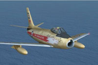 Screenshot of North American F-86A in flight.