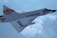 Screenshot of North Dakota ANG Convair F-102A in flight.
