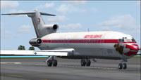 Screenshot of North Pole Airways Boeing 727 on runway.