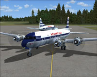 Screenshot of Northeast Airlines Douglas DC-6B taxiing to runway.