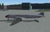 Screenshot of Northern Air Cargo Douglas DC-6 on the ground.