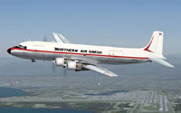 Screenshot of Northern Air Cargo Douglas DC-6B in flight.