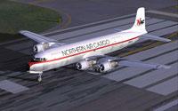 Screenshot of Northern Air Cargo Douglas DC-6B on runway.