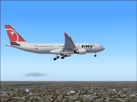 Screenshot of Northwest Airlines Airbus A330-200 in flight.