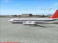 Screenshot of Northwest Airlines Boeing 707 on the ground.
