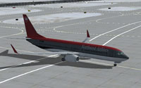 Screenshot of Northwest Airlines Boeing 737-800 on the ground.