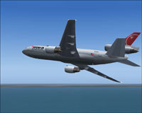 Screenshot of Northwest Airlines Douglas DC-10-30 in flight.