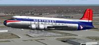 Screenshot of Northwest Airlines Douglas DC-4 in flight.