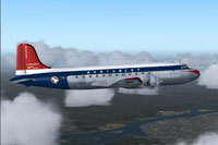 Side view of Northwest Airlines Douglas DC-4 in flight.