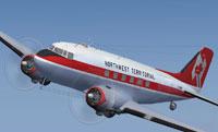 Screenshot of Northwest Territorial Airways Douglas DC-3 in flight.