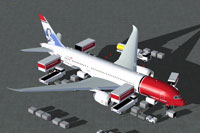 Screenshot of Norwegian Air Shuttle Boeing 787-8 with ground services.