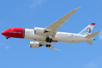 Screenshot of Norwegian Boeing 787 in flight.