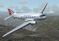 Screenshot of Norwegian Douglas DC-3 in flight.