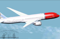 Screenshot of Norwegian Long Haul Boeing 787-8 in flight.