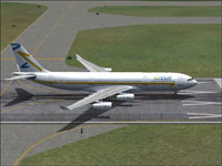 Screenshot of Novair Airbus A340-200 CFM on runway.