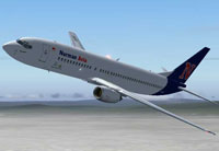 Screenshot of Nurman Avia Boeing 737-800 in the air.