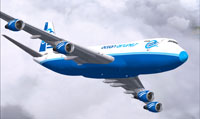 Screenshot of Ocean Airlines Boeing 747-230F in flight.