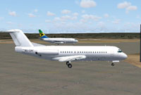 Screenshot of Ocean Airlines Fokker F28 on the ground.