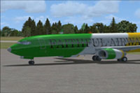 Screenshot of Offaly GAA Boeing 737-800 on the ground.