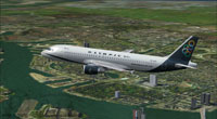 Screenshot of Olympic Airlines Airbus A320-200 in flight.