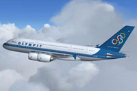 Screenshot of Olympic Airlines Airbus A380 in flight.