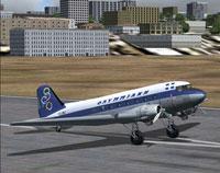 Screenshot of Olympic Airways Douglas DC-3 on runway.