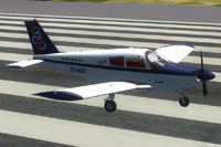 Screenshot of Olympic Aviation Piper PA28-180 Cherokee on runway.