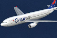 Screenshot of Onur Air Airbus A300B4-605R in new colors.