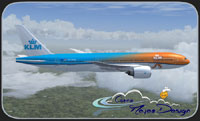 "Screenshot of KLM ""Orange Koningtag Special"" Boeing 777-200LR in flight."