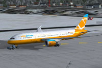 Screenshot of Orbit Airlines Boeing 787-8 on the ground.