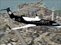 Screenshot of Orca Air Bombardier CRJ-200 in flight.