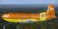 Side view of Oscar Mayer Douglas C-124 in flight.