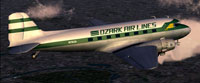 Screenshot of Ozark Air Lines Douglas DC-3 in flight.