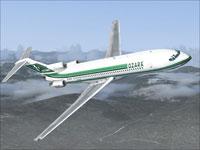 Screenshot of Ozark Airlines Boeing 727-200 in flight.
