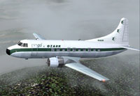 Screenshot of Ozark Airlines Martin 404 in flight.