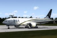 Screenshot of PIA Boeing 777-240ER on runway.