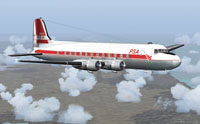Screenshot of PSA Douglas DC-4 N88747 in flight.