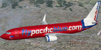 Screenshot of Pacific Blue Boeing 737-800 in flight.