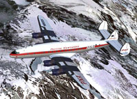 Pacific Northern Airlines L-749 flying over snowy mountains.