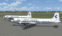 Screenshot of Pacific Western Airlines DC-6B's on the ground.