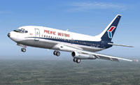 Screenshot of Pacific Western Boeing 737-200 in flight.