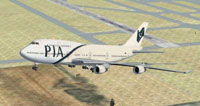 Pakistan International Airlines 747-400 shortly after take-off.