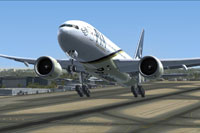 Screenshot of Pakistan International Airlines Boeing 777-200 taking off.
