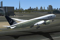 Screenshot of PIA Boeing 777 taking off.