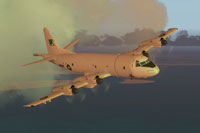 Screenshot of Pakistan Navy P-3C Orion in flight.